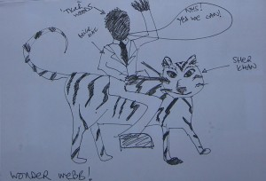 Barack Obama riding a tiger