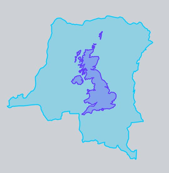 The UK and the Democratic Republic of Congo at the same scale.