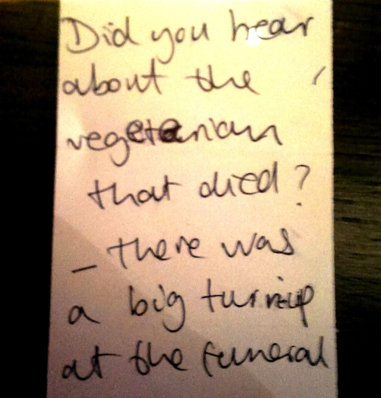 vegetarian funeral joke