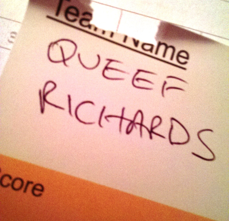 pub quiz team name queef richards