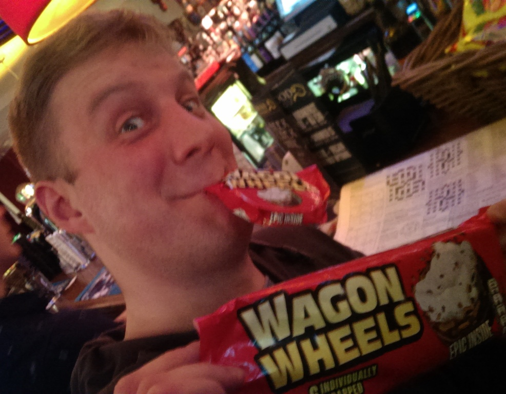Nick wins a packet of Wagon Wheels