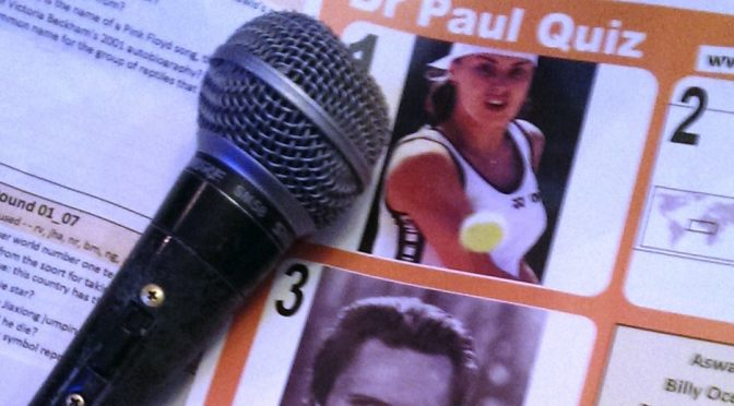 pub quiz microphone and questions