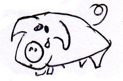 doodle of a sad pig