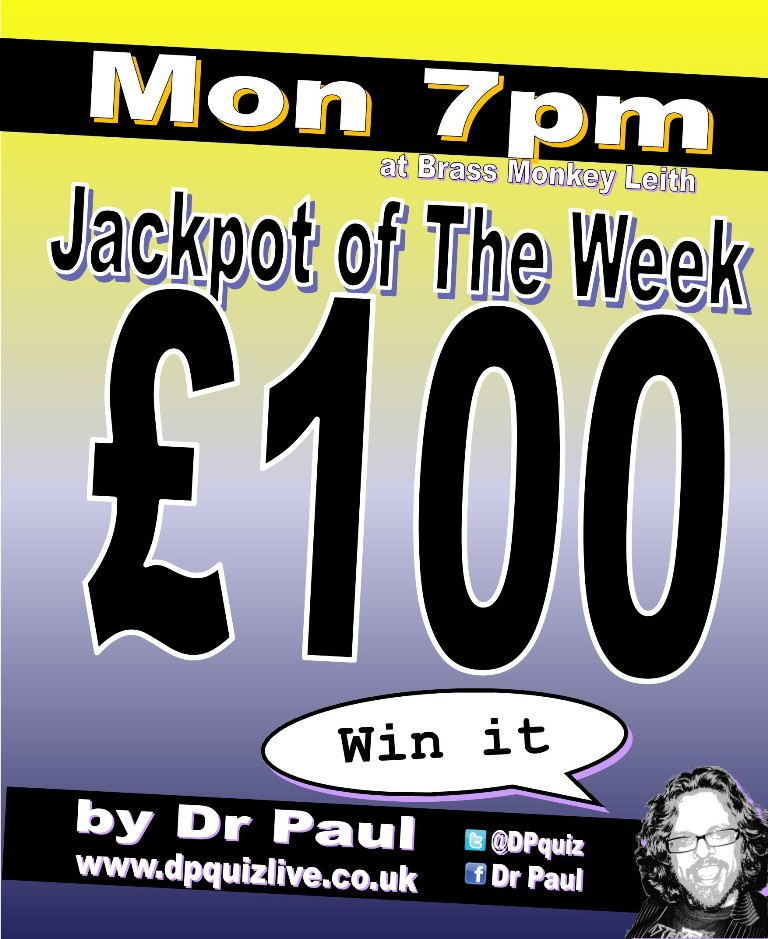£100 jackpot tonight at the Brass Monkey Leith