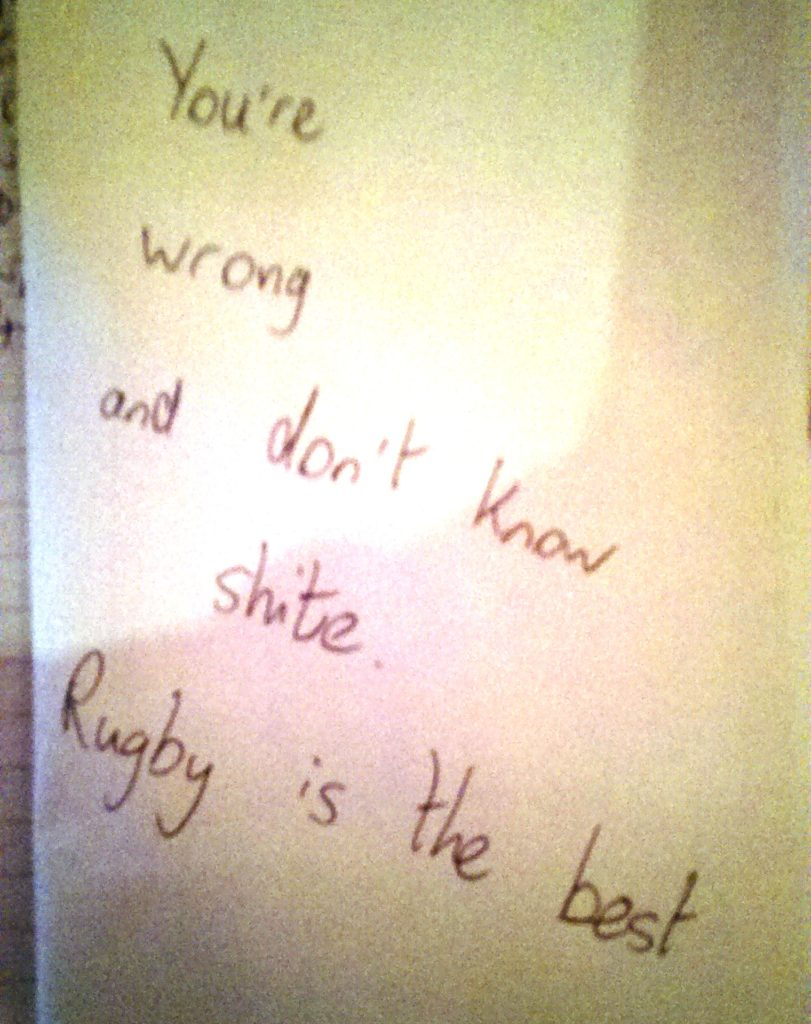 The time I said rugby was rubbish
