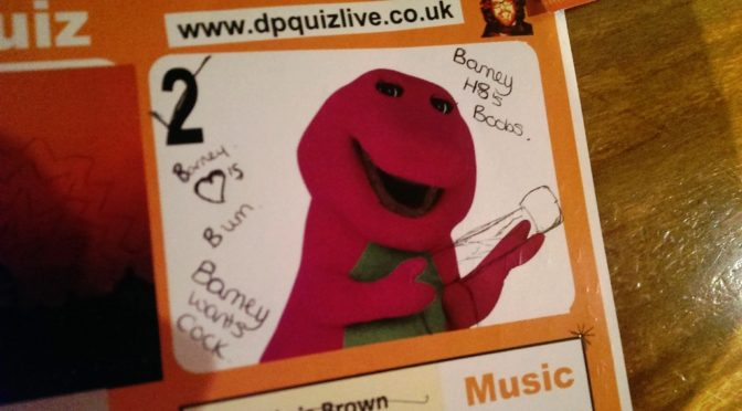 Barney the slightly rude dinosaur