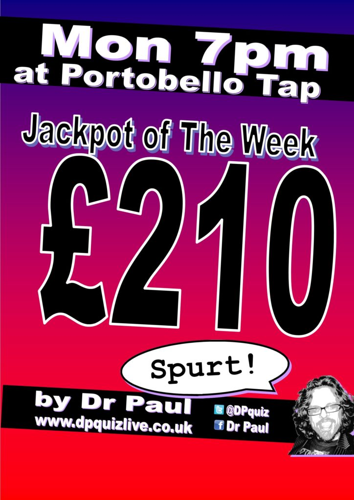 £210 xpt portobello tap quiz jackpot