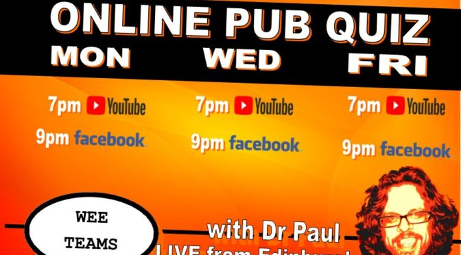 Pub Quiz Tonight – 7pm and 9pm