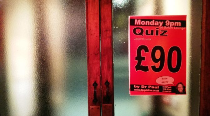 £90 poster in the Safari Lounge doorway